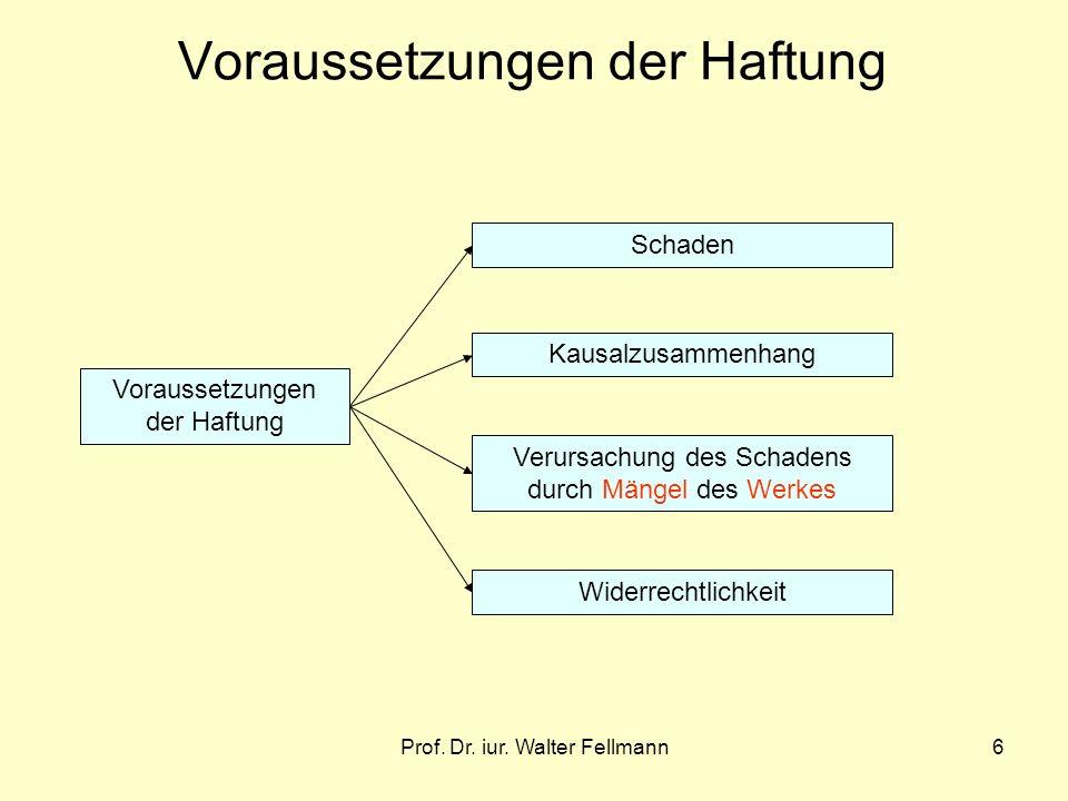 Prof. Dr. iur. Walter Fellmann6 Voraussetzungen der Haftung Schaden Kausalzusammenhang Verursachung des Schadens durch Mängel des Werkes Widerrechtlic
