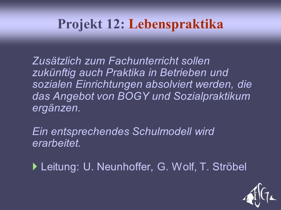 Projekt 12: Lebenspraktika Zusätzlich zum Fachunterricht sollen zukünftig auch Praktika in Betrieben und sozialen Einrichtungen absolviert werden, die