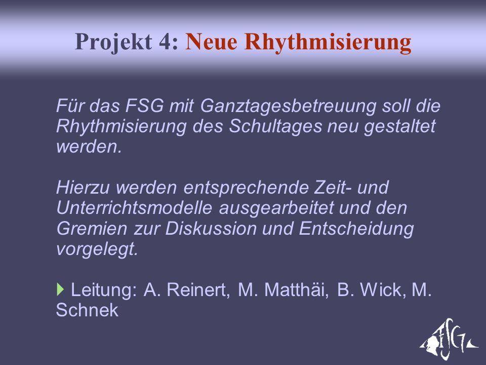 Projekt 4: Neue Rhythmisierung Für das FSG mit Ganztagesbetreuung soll die Rhythmisierung des Schultages neu gestaltet werden. Hierzu werden entsprech