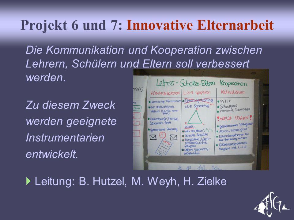 Projekt 6 und 7: Innovative Elternarbeit Die Kommunikation und Kooperation zwischen Lehrern, Schülern und Eltern soll verbessert werden. Zu diesem Zwe