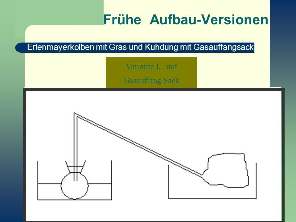 Frühe Aufbau-Versionen Erlenmayerkolben mit Gras und Kuhdung mit Gasauffangsack Variante I, mit Gasauffang-Sack