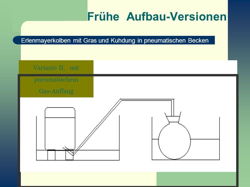 Frühe Aufbau-Versionen Erlenmayerkolben mit Gras und Kuhdung in pneumatischen Becken Variante II, mit pneumatischem Gas-Auffang