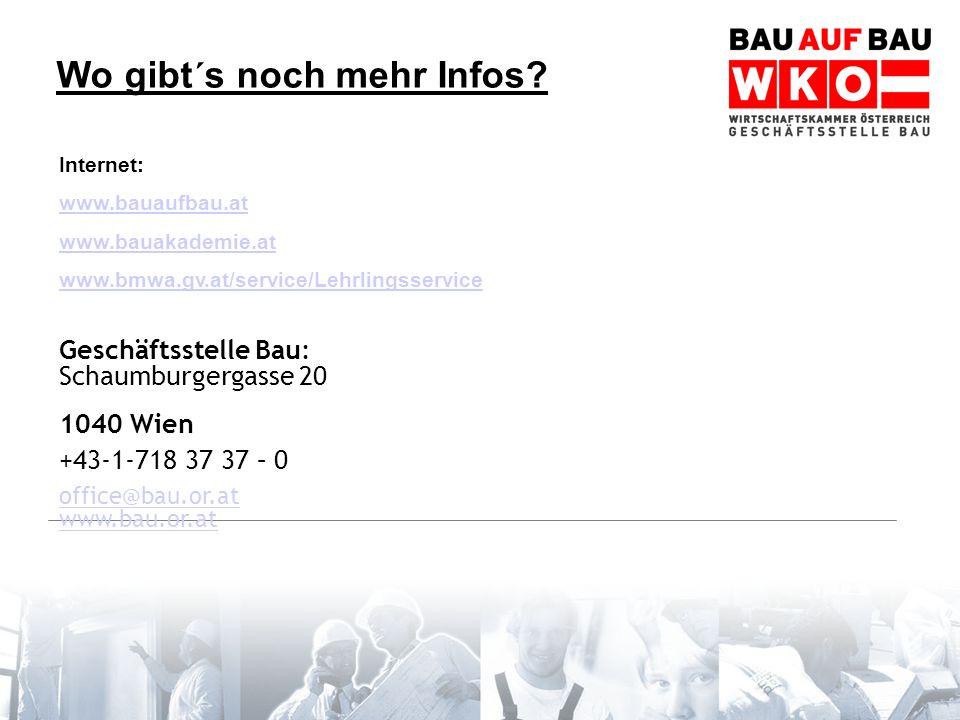 Wo gibt´s noch mehr Infos? Internet: www.bauaufbau.at www.bauakademie.at www.bmwa.gv.at/service/Lehrlingsservice Geschäftsstelle Bau: Schaumburgergass