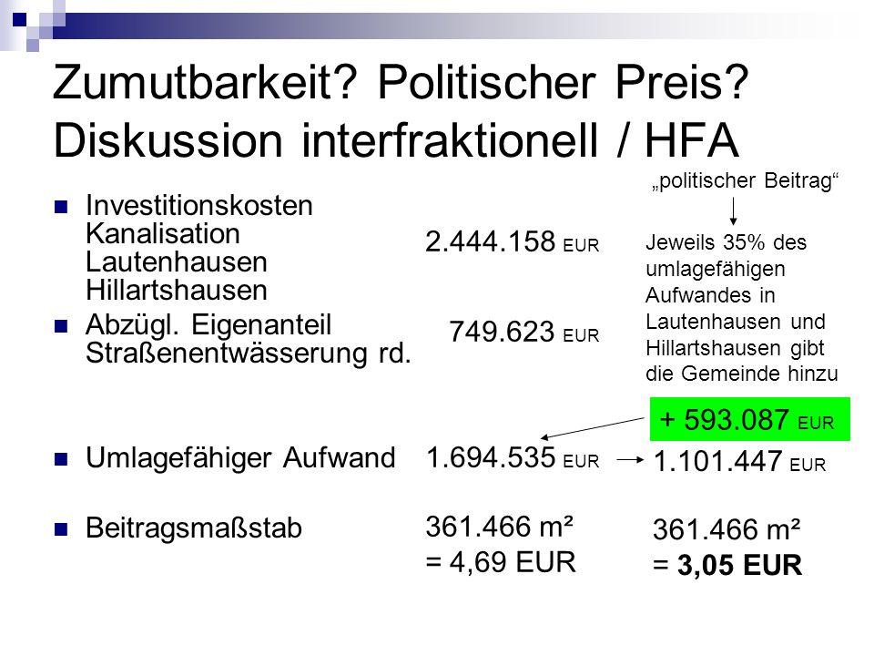 Zumutbarkeit? Politischer Preis? Diskussion interfraktionell / HFA Investitionskosten Kanalisation Lautenhausen Hillartshausen Abzügl. Eigenanteil Str