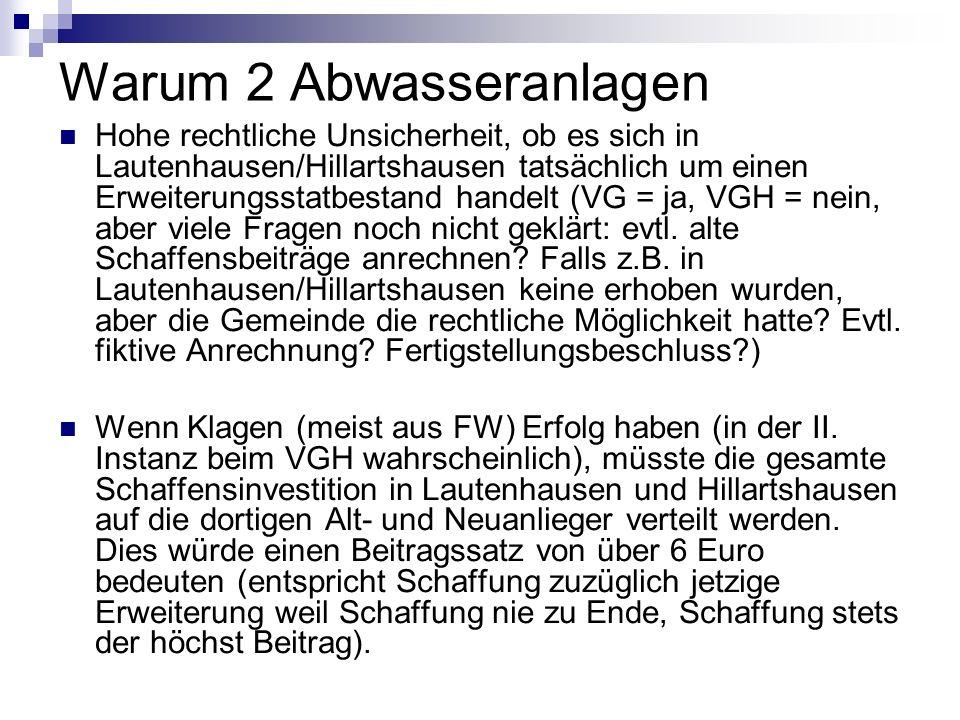 Warum 2 Abwasseranlagen Hohe rechtliche Unsicherheit, ob es sich in Lautenhausen/Hillartshausen tatsächlich um einen Erweiterungsstatbestand handelt (