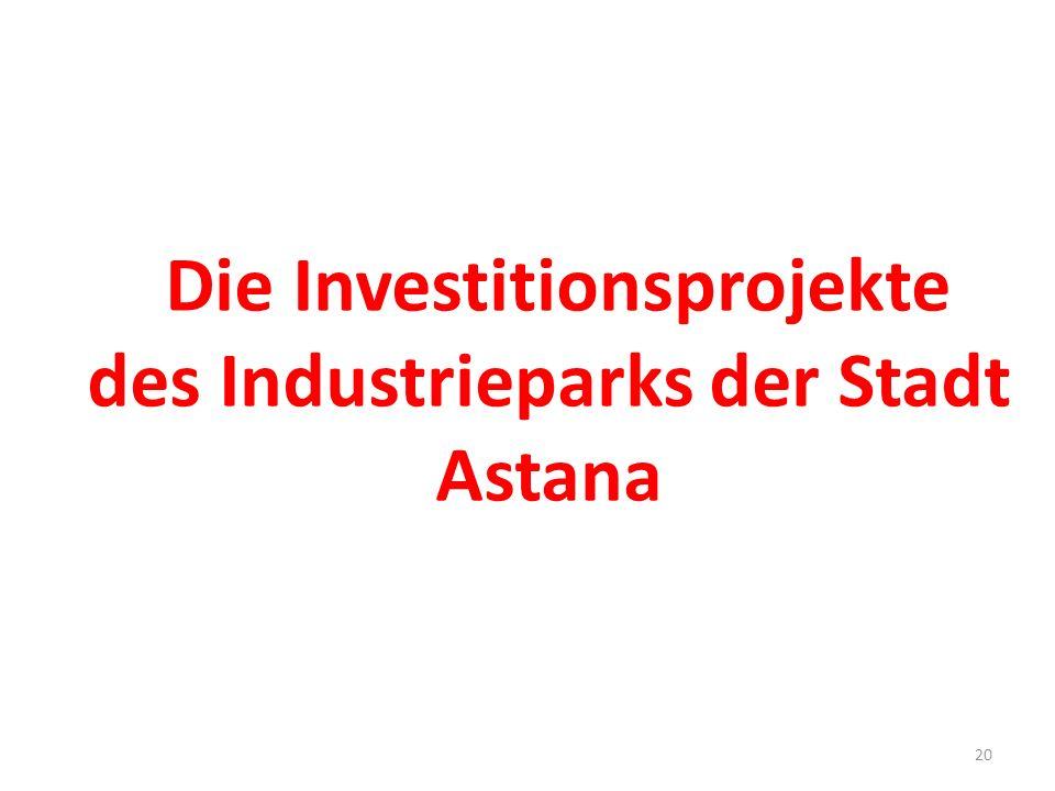 Die Investitionsprojekte des Industrieparks der Stadt Astana 20