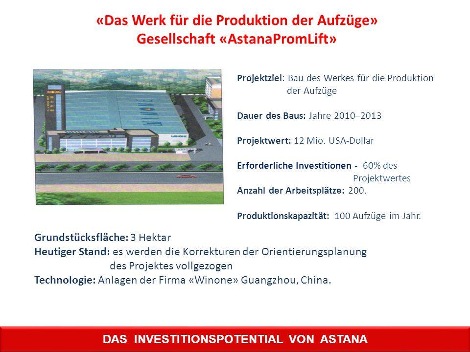 «Das Werk für die Produktion der Aufzüge» Gesellschaft «AstanaPromLift» Projektziel: Bau des Werkes für die Produktion der Aufzüge Dauer des Baus: Jah