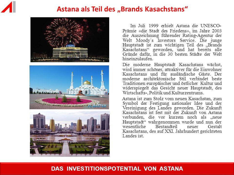 Im Juli 1999 erhielt Astana die UNESCO- Prämie «die Stadt des Friedens», im Jahre 2003 die Auszeichnung führender Rating-Agentur der Welt Moody`s Inve