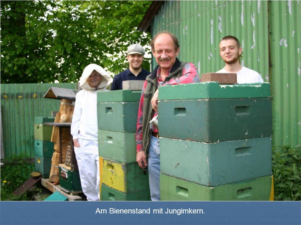 Am Bienenstand mit Jungimkern.