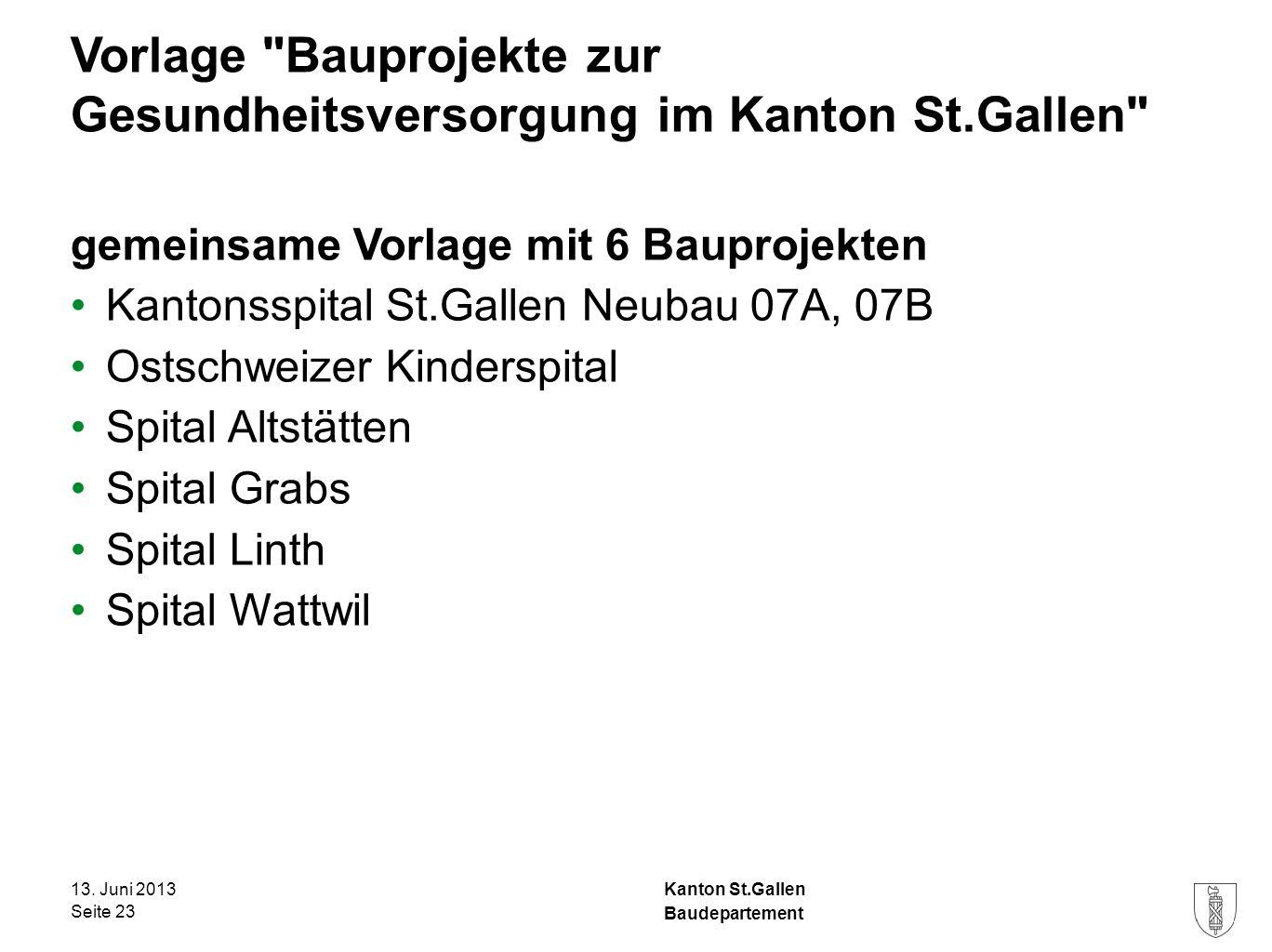 Kanton St.Gallen Vorlage Bauprojekte zur Gesundheitsversorgung im Kanton St.Gallen gemeinsame Vorlage mit 6 Bauprojekten Kantonsspital St.Gallen Neubau 07A, 07B Ostschweizer Kinderspital Spital Altstätten Spital Grabs Spital Linth Spital Wattwil 13.