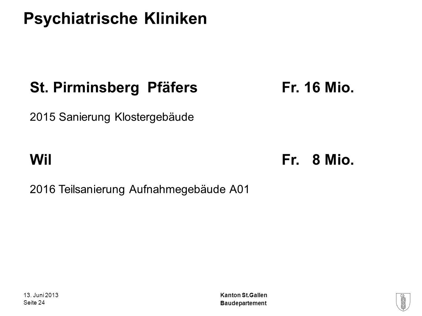 Kanton St.Gallen Psychiatrische Kliniken 13. Juni 2013 Seite 24 Baudepartement St.