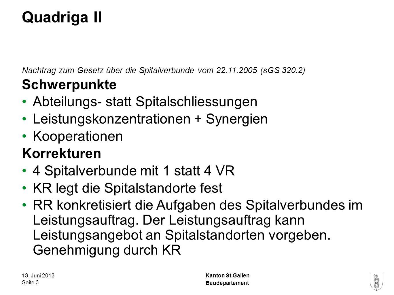 Kanton St.Gallen Quadriga II Nachtrag zum Gesetz über die Spitalverbunde vom 22.11.2005 (sGS 320.2) Schwerpunkte Abteilungs- statt Spitalschliessungen Leistungskonzentrationen + Synergien Kooperationen Korrekturen 4 Spitalverbunde mit 1 statt 4 VR KR legt die Spitalstandorte fest RR konkretisiert die Aufgaben des Spitalverbundes im Leistungsauftrag.