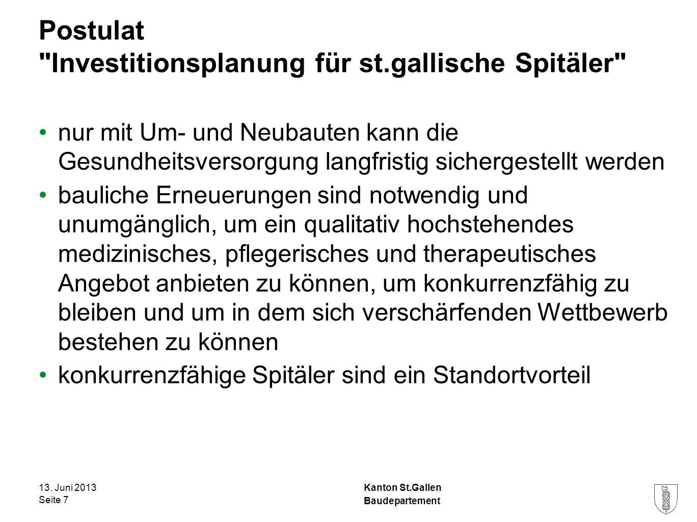 Kanton St.Gallen Postulat Spital-Neubauplanung im Rheintal Postulat 43.09.10 Rechtzeitige Spital-Neubauplanung im Rheintal vom 10.