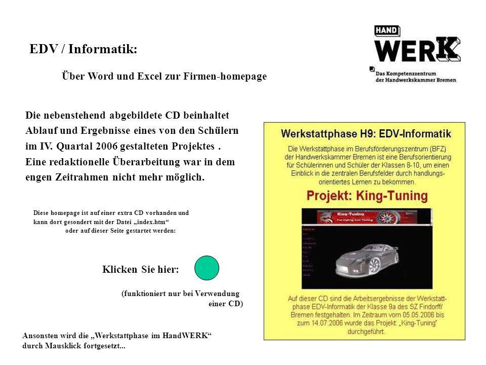 EDV / Informatik: Über Word und Excel zur Firmen-homepage Die nebenstehend abgebildete CD beinhaltet Ablauf und Ergebnisse eines von den Schülern im I