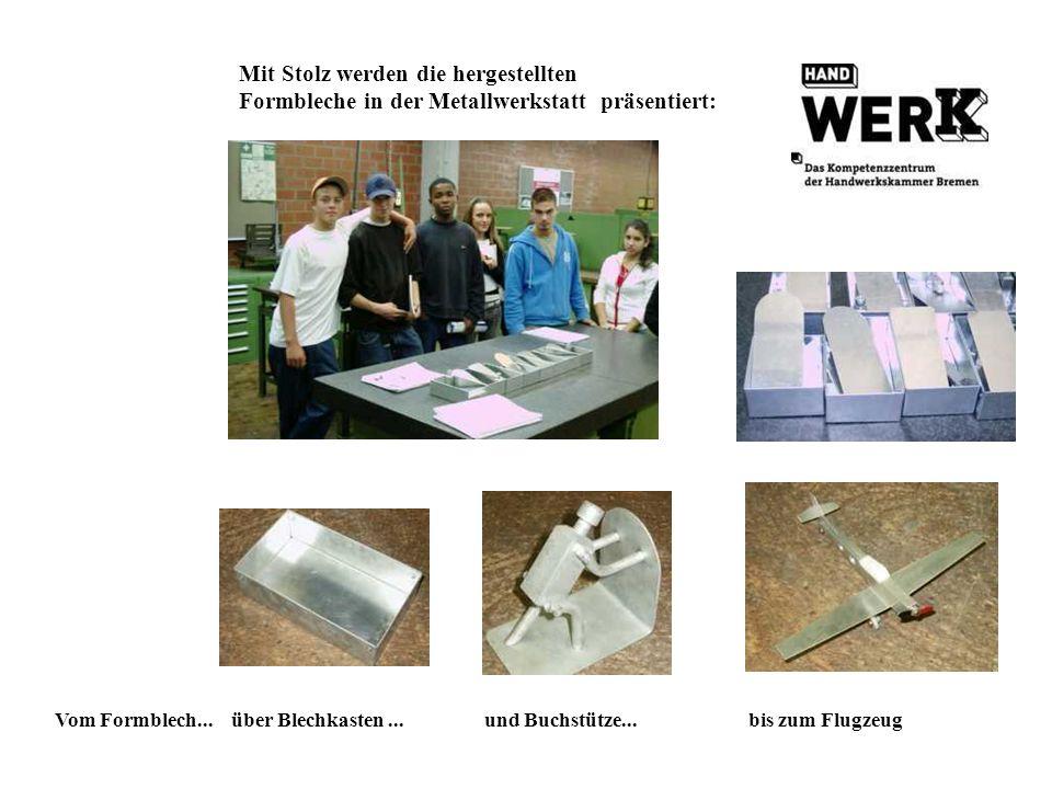 Mit Stolz werden die hergestellten Formbleche in der Metallwerkstatt präsentiert: Vom Formblech... über Blechkasten... und Buchstütze... bis zum Flugz