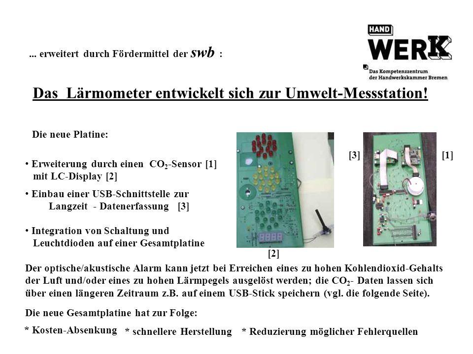 ... erweitert durch Fördermittel der swb : Das Lärmometer entwickelt sich zur Umwelt-Messstation! Erweiterung durch einen CO 2 -Sensor [1] mit LC-Disp