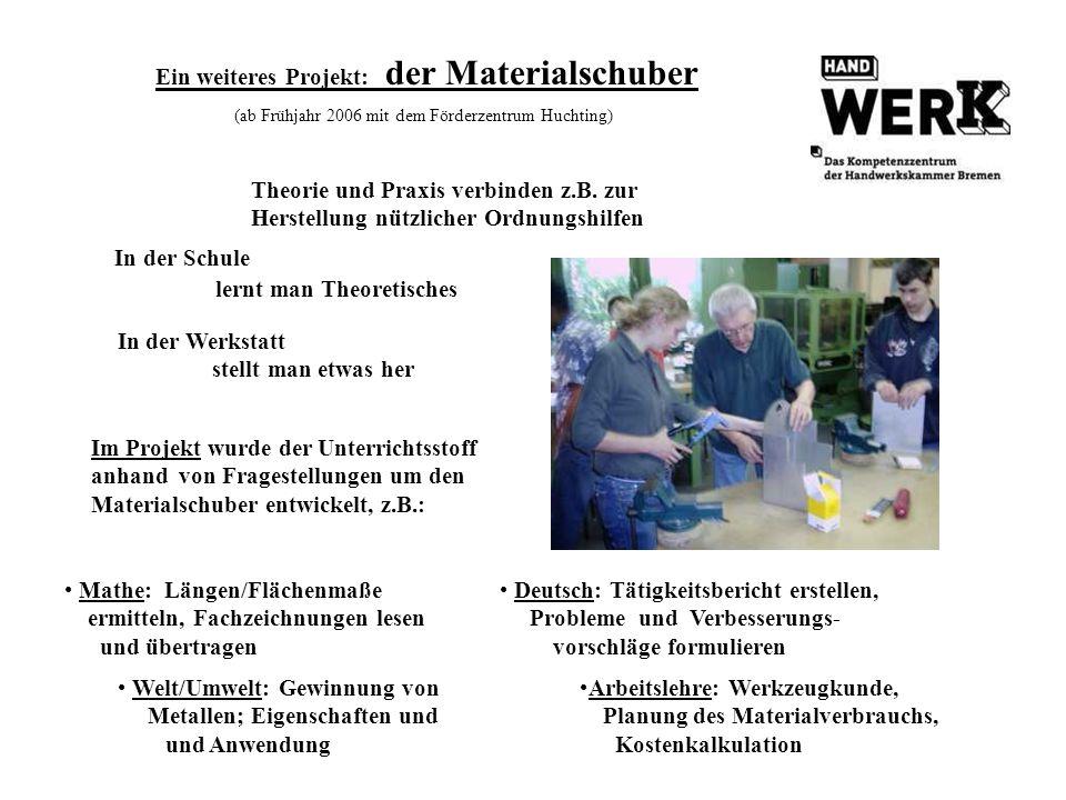 Ein weiteres Projekt: der Materialschuber (ab Frühjahr 2006 mit dem Förderzentrum Huchting) In der Schule lernt man Theoretisches Theorie und Praxis v