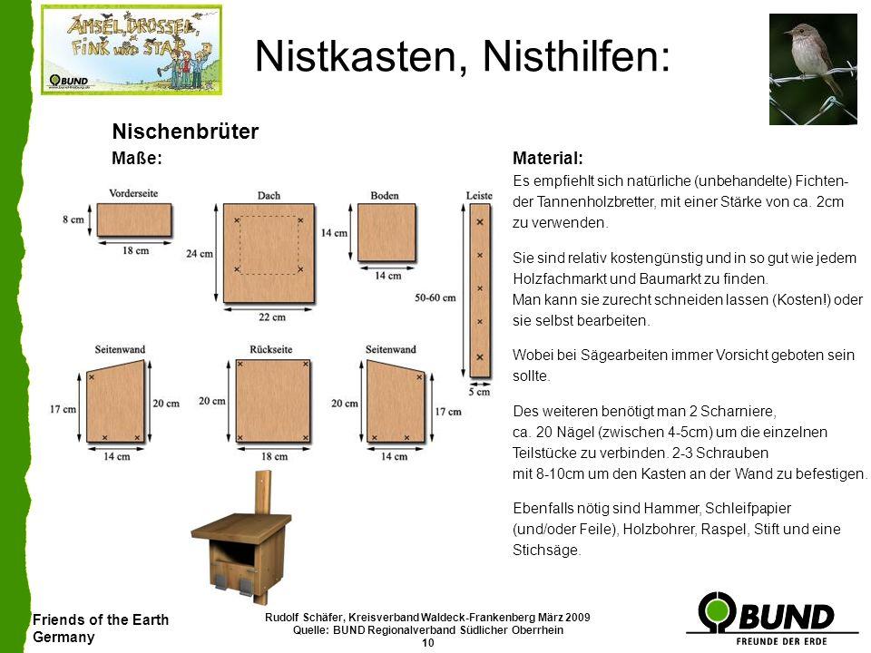 Friends of the Earth Germany Rudolf Schäfer, Kreisverband Waldeck-Frankenberg März 2009 Quelle: BUND Regionalverband Südlicher Oberrhein 10 Nistkasten