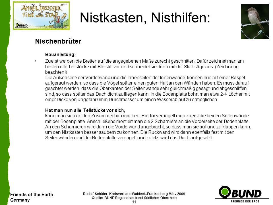 Friends of the Earth Germany Rudolf Schäfer, Kreisverband Waldeck-Frankenberg März 2009 Quelle: BUND Regionalverband Südlicher Oberrhein 11 Nistkasten