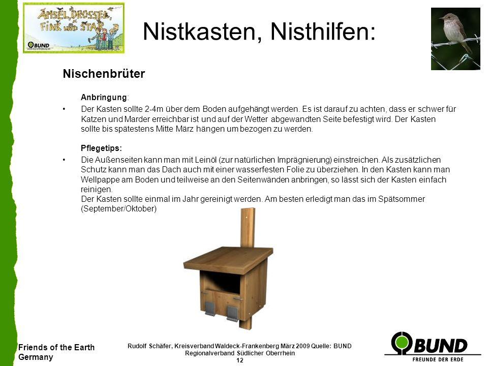 Friends of the Earth Germany Rudolf Schäfer, Kreisverband Waldeck-Frankenberg März 2009 Quelle: BUND Regionalverband Südlicher Oberrhein 12 Nistkasten
