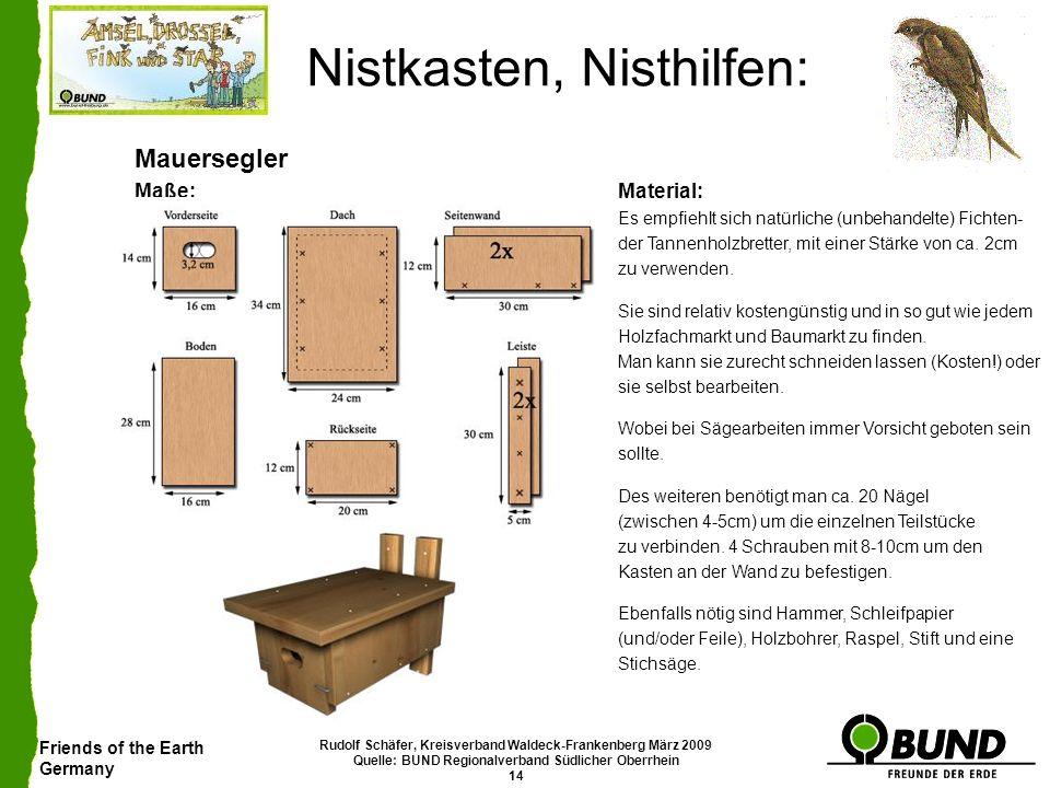 Friends of the Earth Germany Rudolf Schäfer, Kreisverband Waldeck-Frankenberg März 2009 Quelle: BUND Regionalverband Südlicher Oberrhein 14 Nistkasten