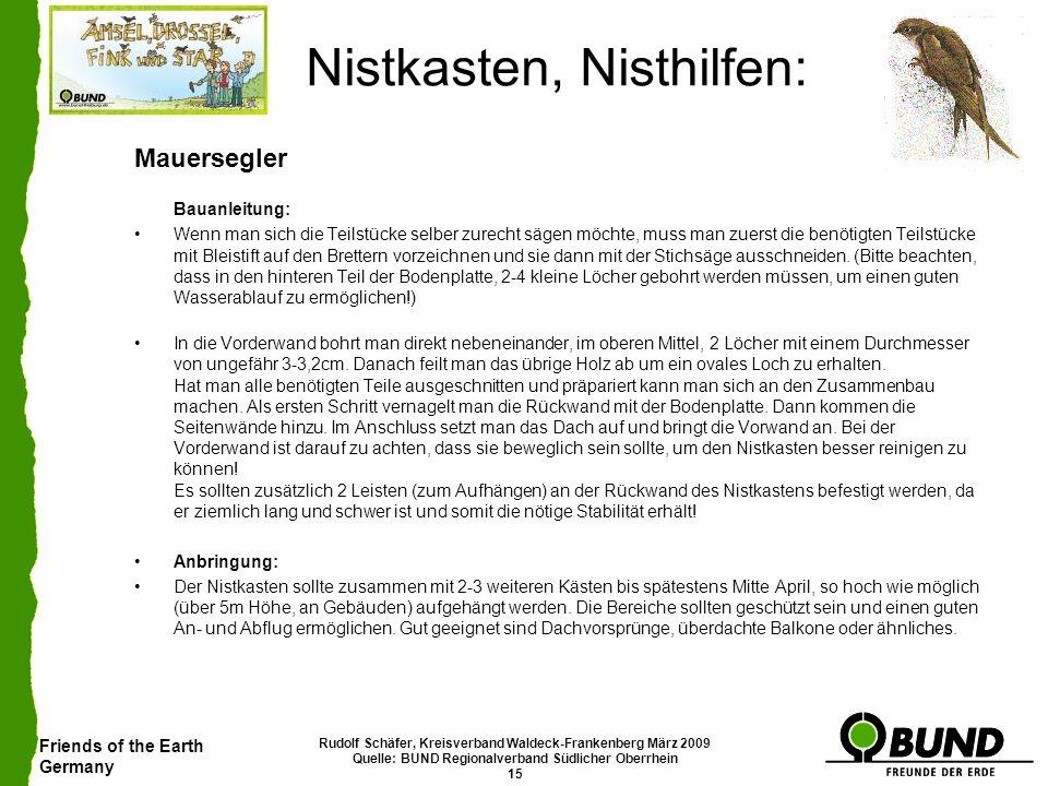 Friends of the Earth Germany Rudolf Schäfer, Kreisverband Waldeck-Frankenberg März 2009 Quelle: BUND Regionalverband Südlicher Oberrhein 15 Nistkasten