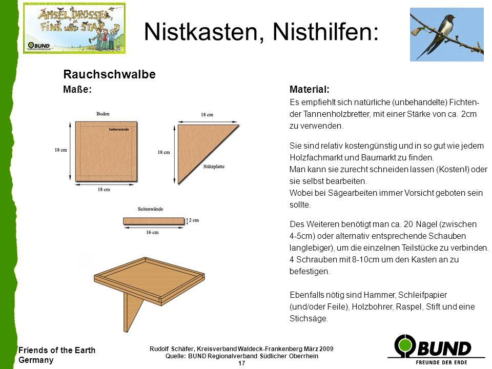 Friends of the Earth Germany Rudolf Schäfer, Kreisverband Waldeck-Frankenberg März 2009 Quelle: BUND Regionalverband Südlicher Oberrhein 17 Nistkasten