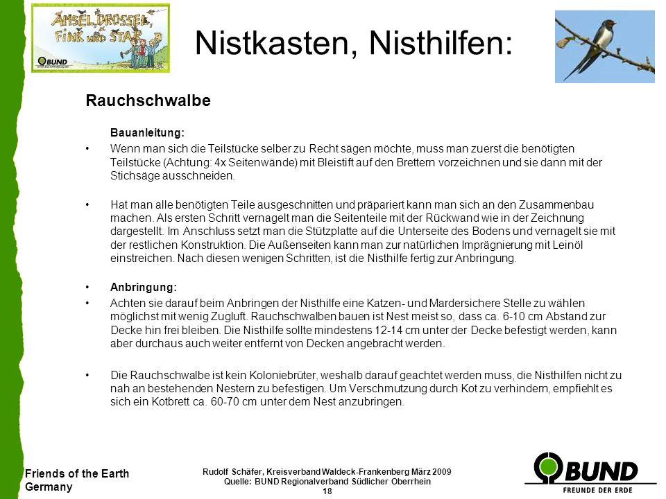 Friends of the Earth Germany Rudolf Schäfer, Kreisverband Waldeck-Frankenberg März 2009 Quelle: BUND Regionalverband Südlicher Oberrhein 18 Nistkasten