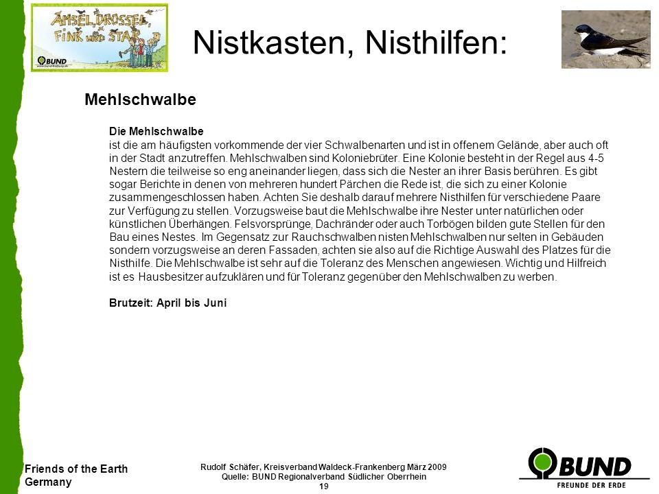 Friends of the Earth Germany Rudolf Schäfer, Kreisverband Waldeck-Frankenberg März 2009 Quelle: BUND Regionalverband Südlicher Oberrhein 19 Nistkasten