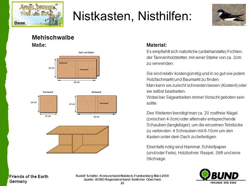 Friends of the Earth Germany Rudolf Schäfer, Kreisverband Waldeck-Frankenberg März 2009 Quelle: BUND Regionalverband Südlicher Oberrhein 20 Nistkasten