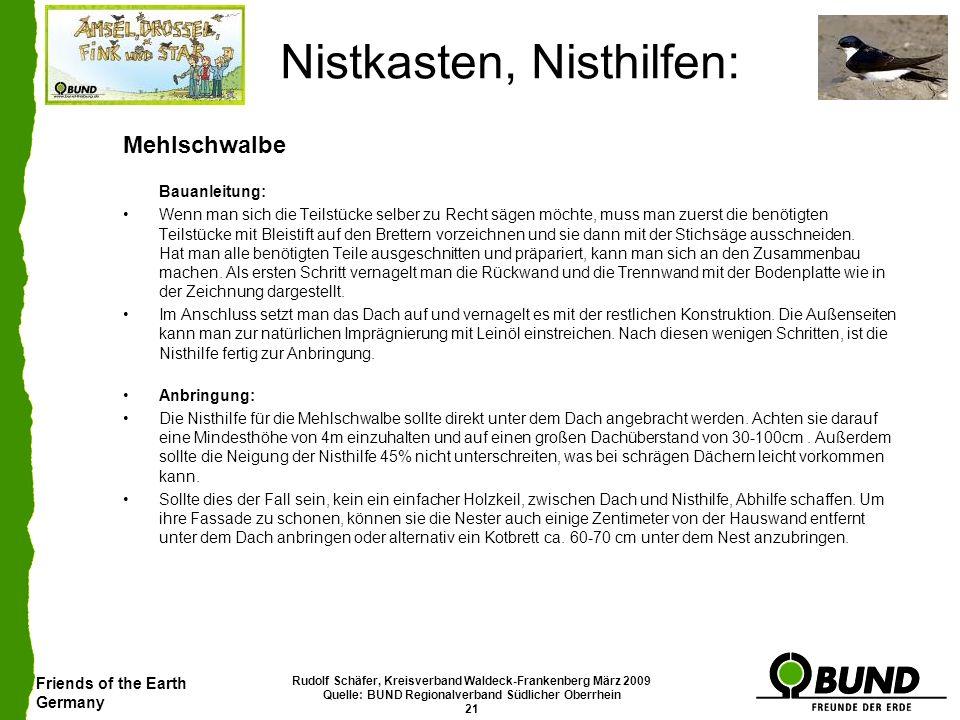 Friends of the Earth Germany Rudolf Schäfer, Kreisverband Waldeck-Frankenberg März 2009 Quelle: BUND Regionalverband Südlicher Oberrhein 21 Nistkasten