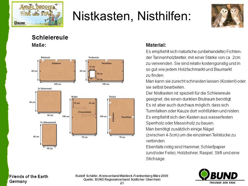 Friends of the Earth Germany Rudolf Schäfer, Kreisverband Waldeck-Frankenberg März 2009 Quelle: BUND Regionalverband Südlicher Oberrhein 23 Nistkasten
