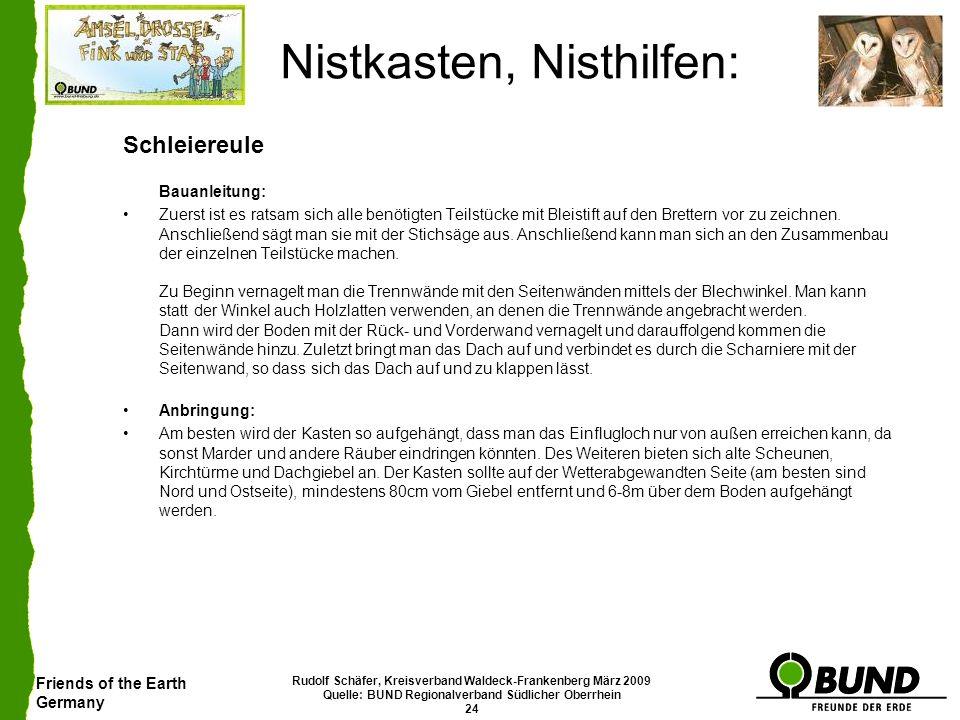 Friends of the Earth Germany Rudolf Schäfer, Kreisverband Waldeck-Frankenberg März 2009 Quelle: BUND Regionalverband Südlicher Oberrhein 24 Nistkasten