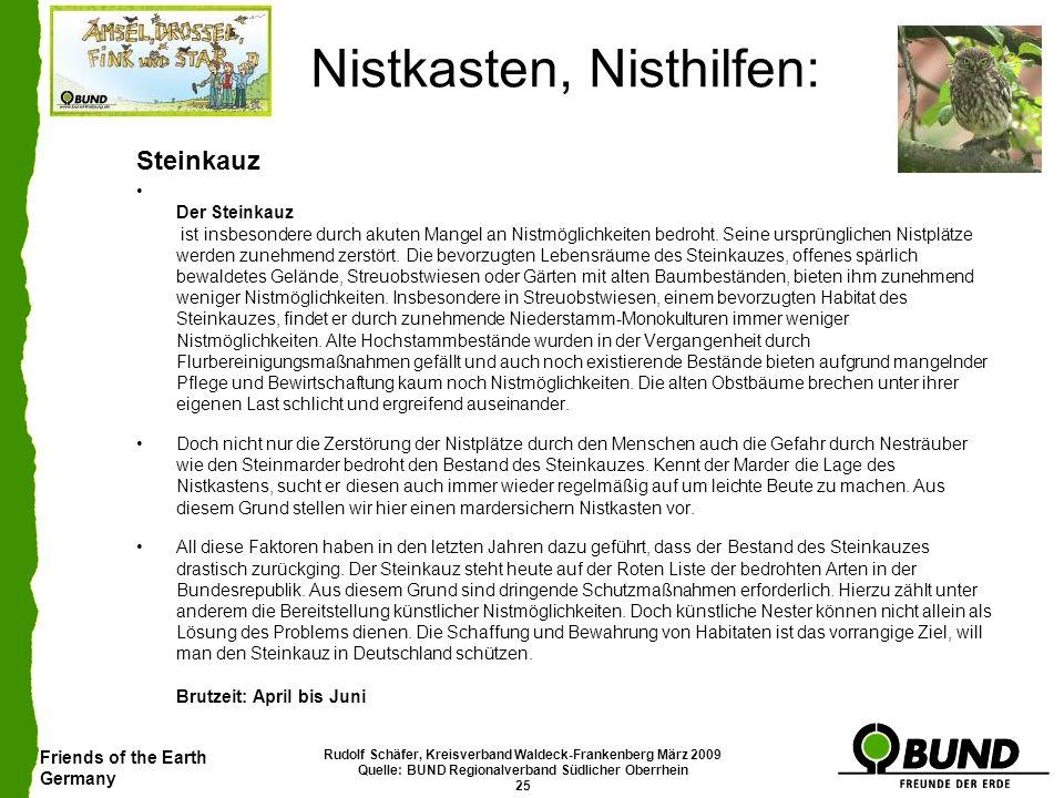 Friends of the Earth Germany Rudolf Schäfer, Kreisverband Waldeck-Frankenberg März 2009 Quelle: BUND Regionalverband Südlicher Oberrhein 25 Nistkasten