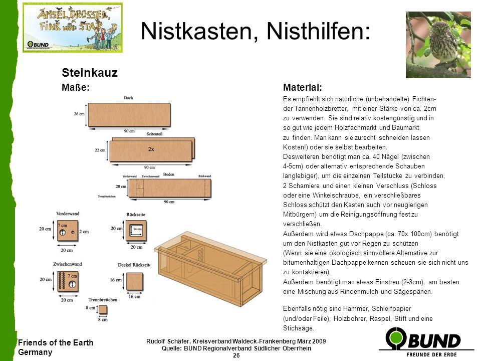 Friends of the Earth Germany Rudolf Schäfer, Kreisverband Waldeck-Frankenberg März 2009 Quelle: BUND Regionalverband Südlicher Oberrhein 26 Nistkasten