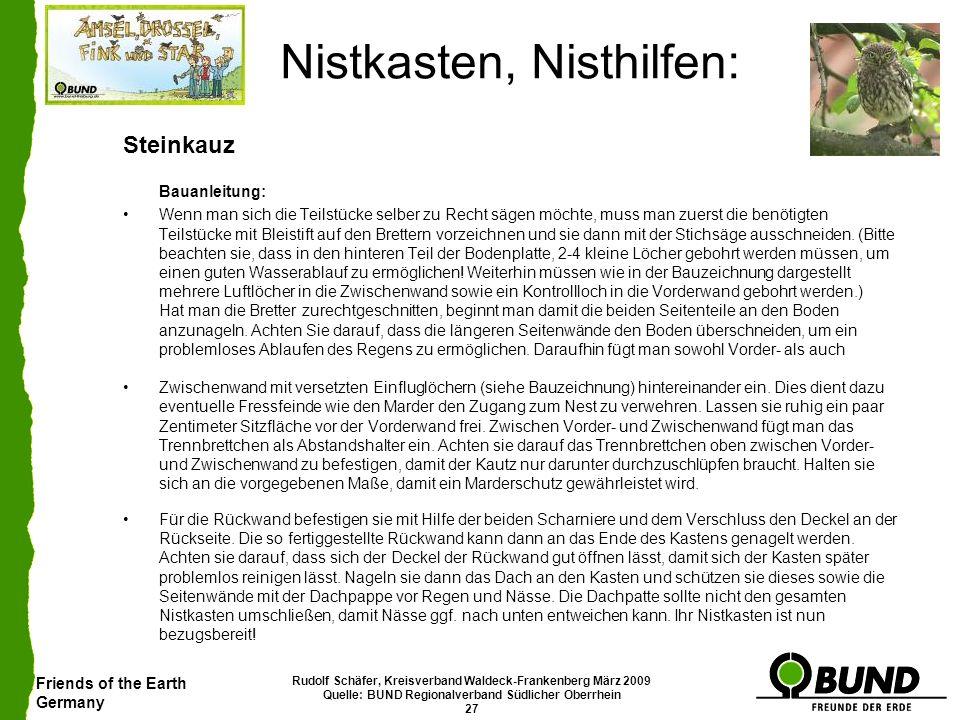 Friends of the Earth Germany Rudolf Schäfer, Kreisverband Waldeck-Frankenberg März 2009 Quelle: BUND Regionalverband Südlicher Oberrhein 27 Nistkasten