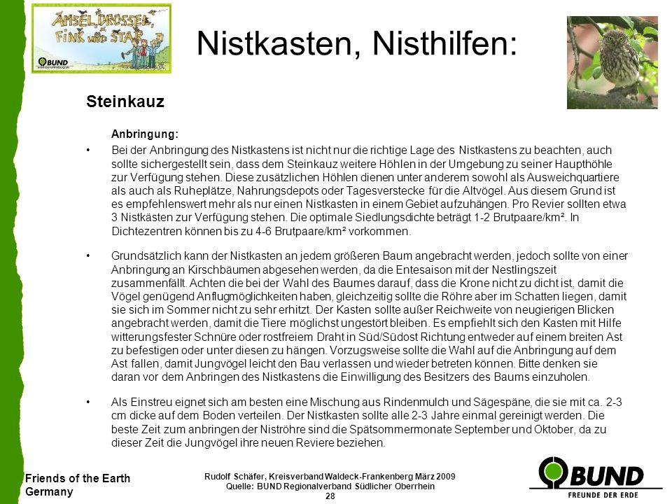 Friends of the Earth Germany Rudolf Schäfer, Kreisverband Waldeck-Frankenberg März 2009 Quelle: BUND Regionalverband Südlicher Oberrhein 28 Nistkasten