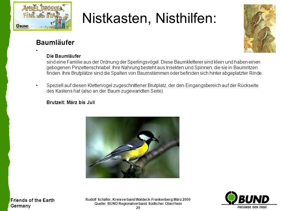 Friends of the Earth Germany Rudolf Schäfer, Kreisverband Waldeck-Frankenberg März 2009 Quelle: BUND Regionalverband Südlicher Oberrhein 29 Nistkasten