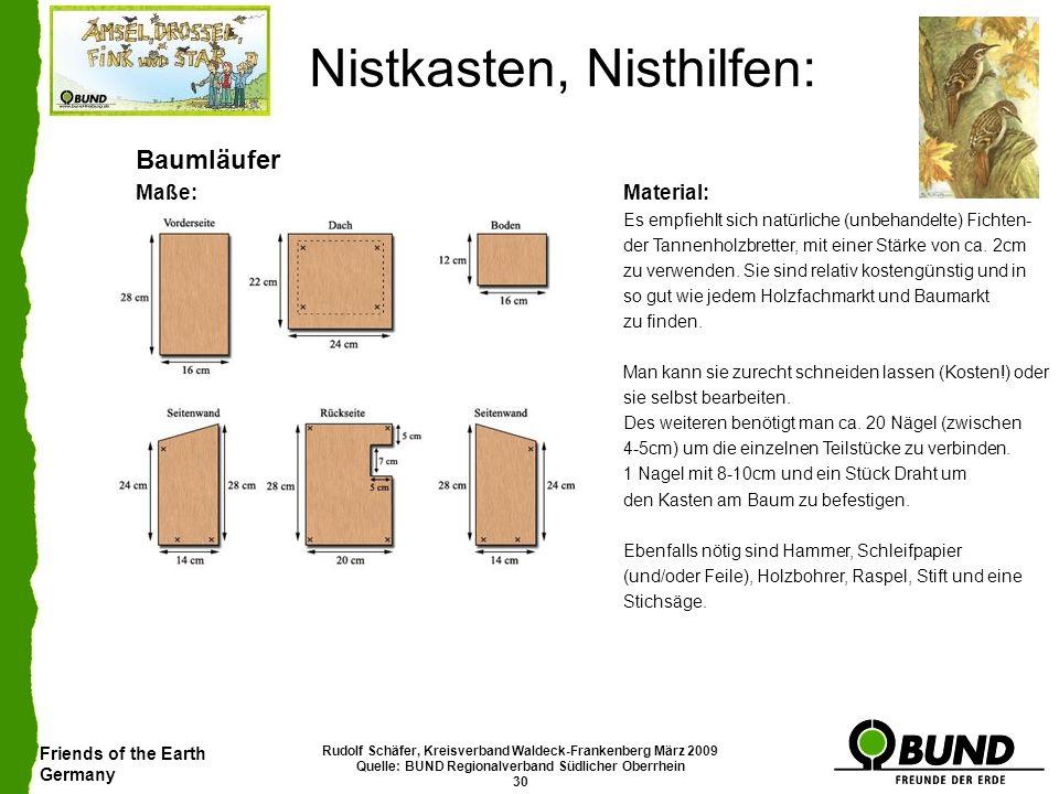 Friends of the Earth Germany Rudolf Schäfer, Kreisverband Waldeck-Frankenberg März 2009 Quelle: BUND Regionalverband Südlicher Oberrhein 30 Nistkasten