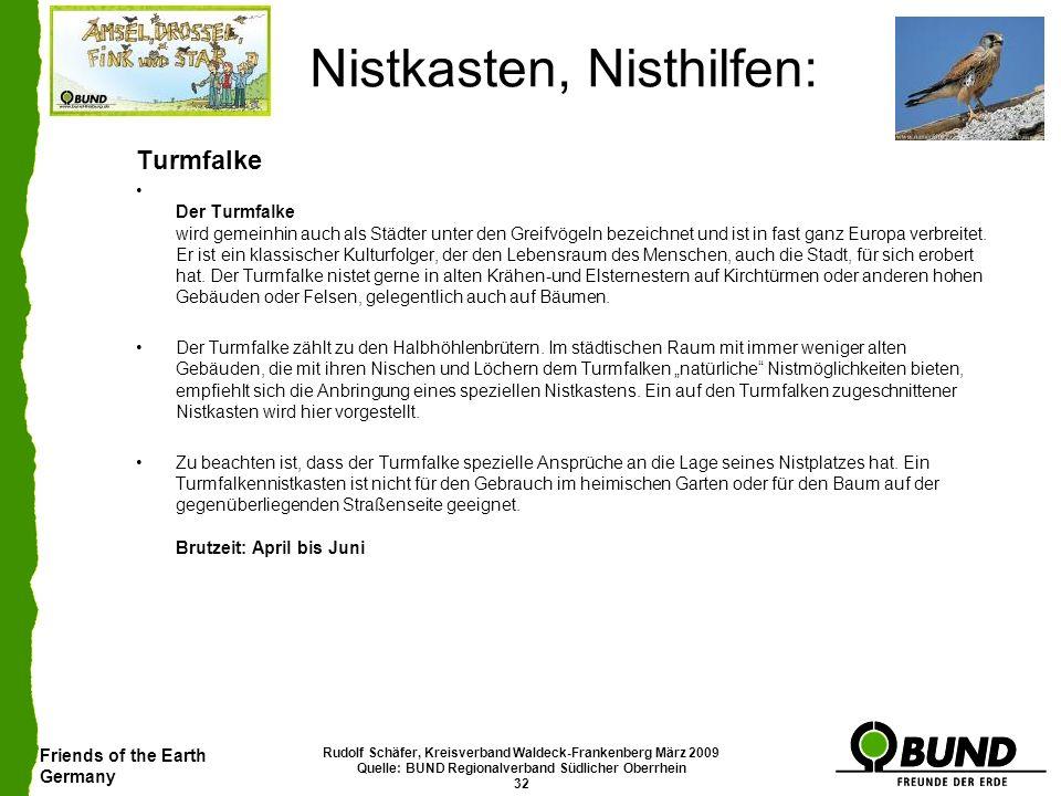 Friends of the Earth Germany Rudolf Schäfer, Kreisverband Waldeck-Frankenberg März 2009 Quelle: BUND Regionalverband Südlicher Oberrhein 32 Nistkasten