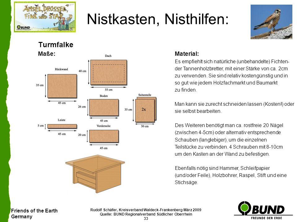 Friends of the Earth Germany Rudolf Schäfer, Kreisverband Waldeck-Frankenberg März 2009 Quelle: BUND Regionalverband Südlicher Oberrhein 33 Nistkasten