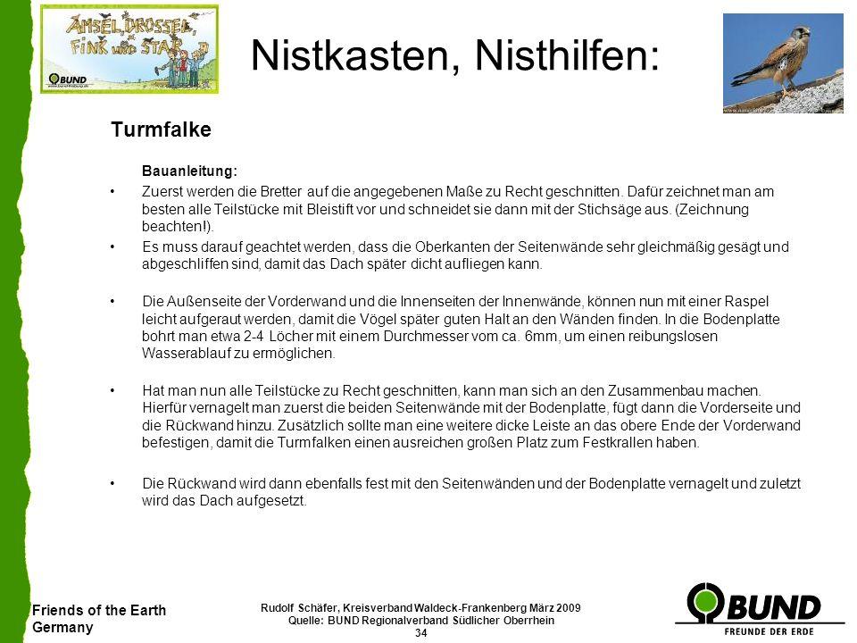 Friends of the Earth Germany Rudolf Schäfer, Kreisverband Waldeck-Frankenberg März 2009 Quelle: BUND Regionalverband Südlicher Oberrhein 34 Nistkasten