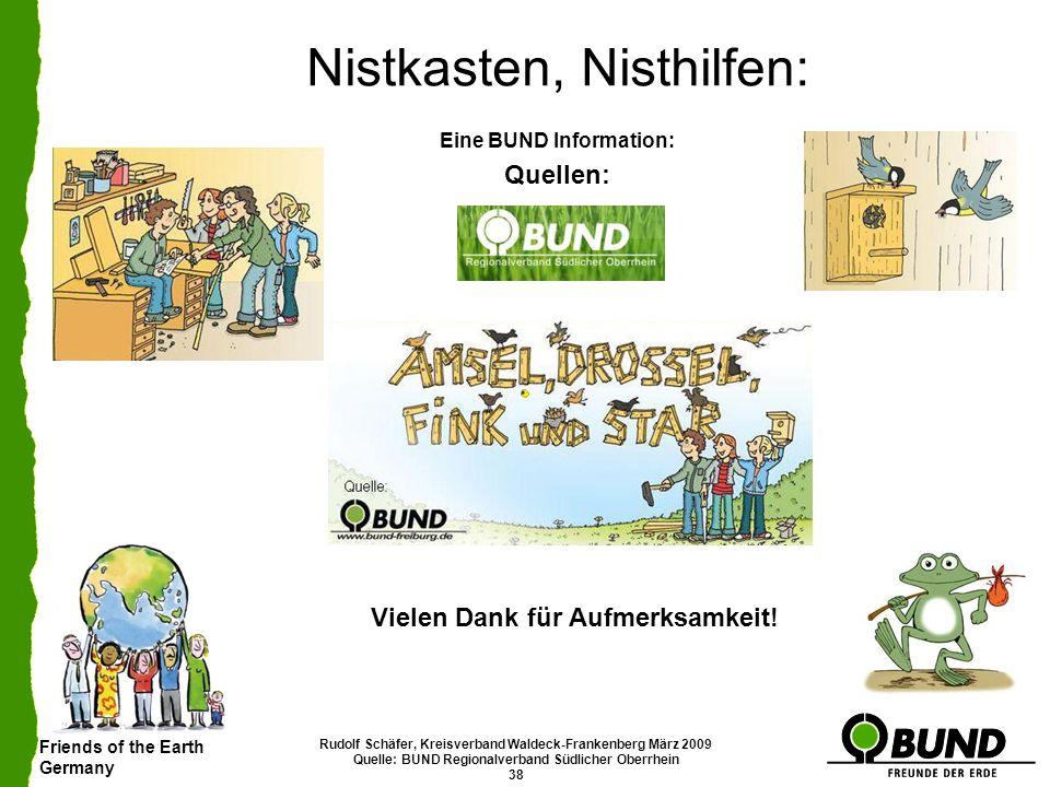 Friends of the Earth Germany Rudolf Schäfer, Kreisverband Waldeck-Frankenberg März 2009 Quelle: BUND Regionalverband Südlicher Oberrhein 38 Nistkasten