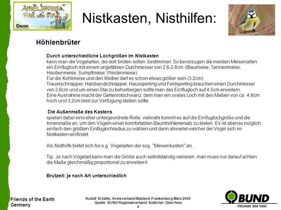 Friends of the Earth Germany Rudolf Schäfer, Kreisverband Waldeck-Frankenberg März 2009 Quelle: BUND Regionalverband Südlicher Oberrhein 25 Nistkasten, Nisthilfen: Steinkauz Der Steinkauz ist insbesondere durch akuten Mangel an Nistmöglichkeiten bedroht.