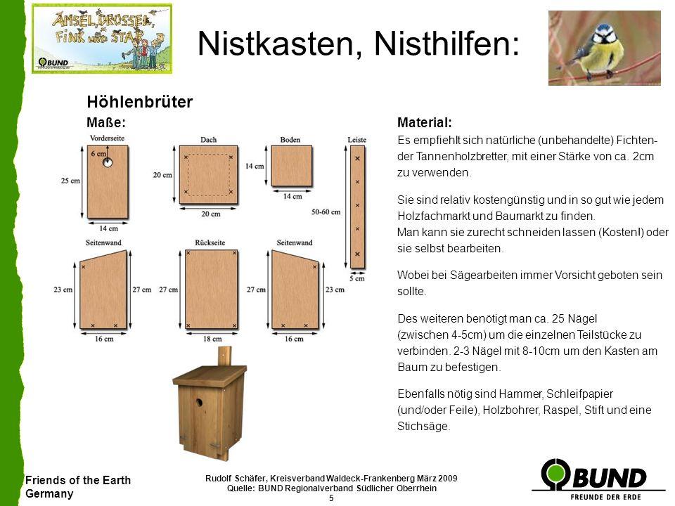 Friends of the Earth Germany Rudolf Schäfer, Kreisverband Waldeck-Frankenberg März 2009 Quelle: BUND Regionalverband Südlicher Oberrhein 5 Nistkasten,