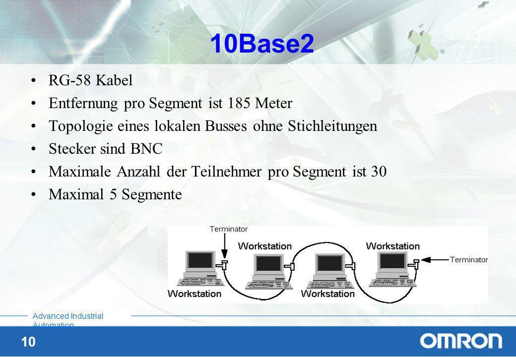 9 Advanced Industrial Automation 10Base5 Maximale Entfernung pro Segment ist 500 Meter Topologie eines Bus, Stecker sind AUIs für Transceiver, alle 2,