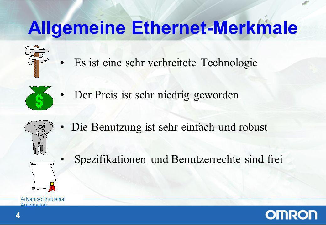 3 Advanced Industrial Automation Geschichte des Ethernet Entwickelt von XEROX 1970 Blue Book Standard wurde veröffentlicht von DEC-Intel-Xerox 1980 al