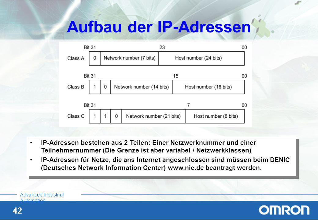 41 Advanced Industrial Automation Unterschied zwischen Ethernet V2.0 und IEEE802.3 Heutige Geräte können beide Protokolle verstehen