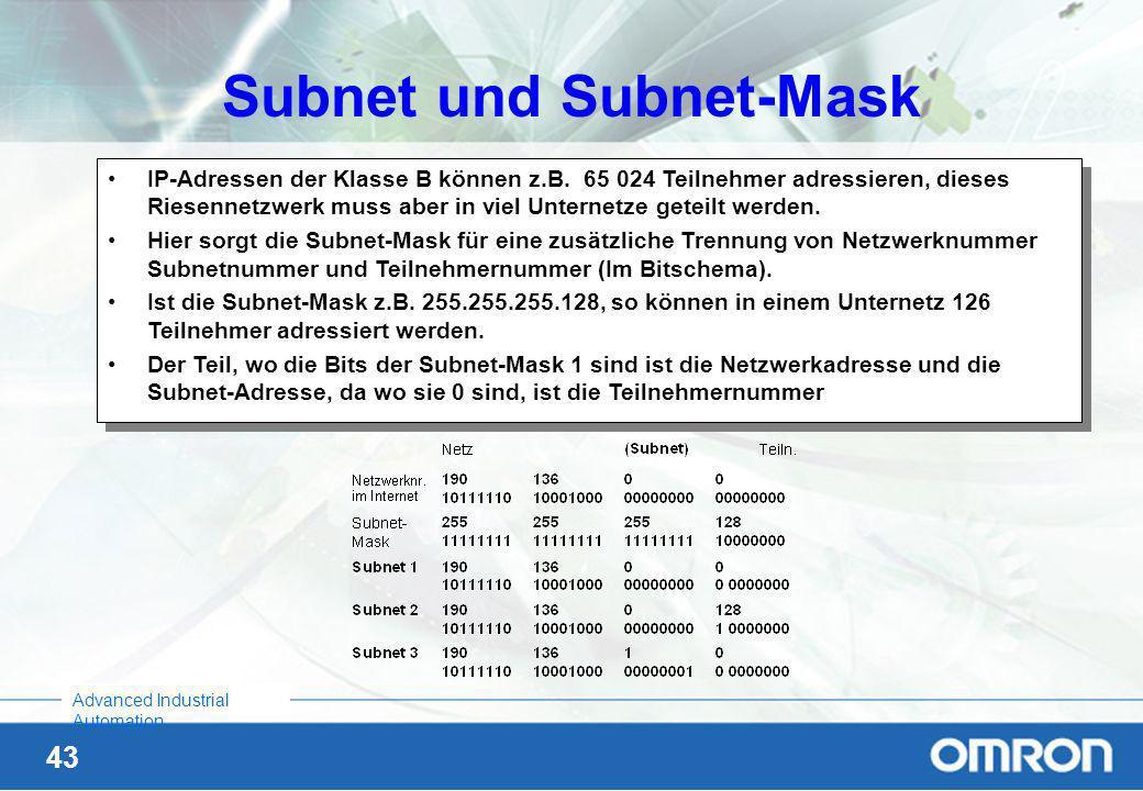 42 Advanced Industrial Automation Aufbau der IP-Adressen IP-Adressen bestehen aus 2 Teilen: Einer Netzwerknummer und einer Teilnehmernummer (Die Grenz