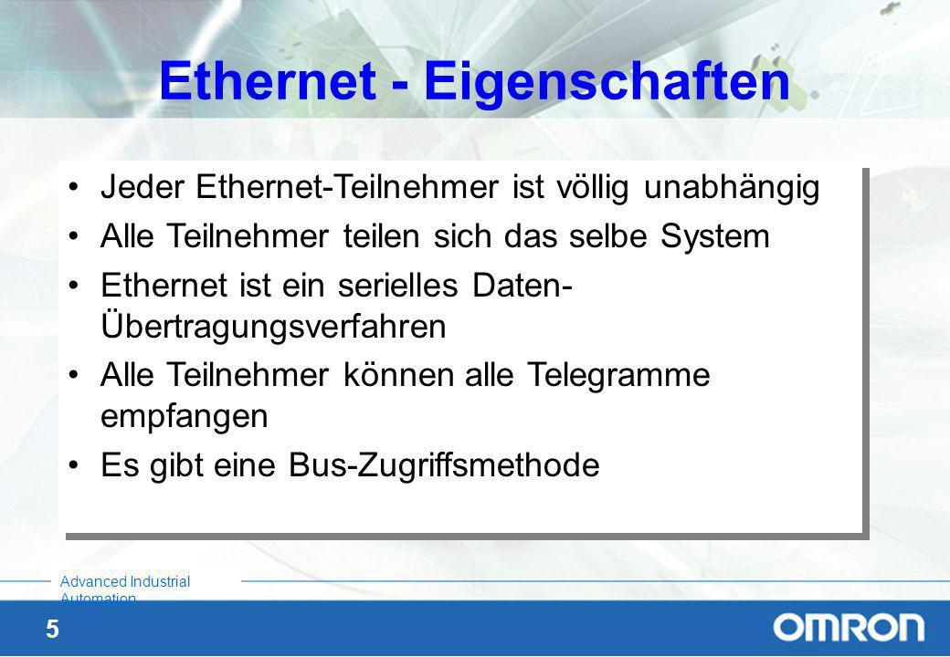 4 Advanced Industrial Automation Allgemeine Ethernet-Merkmale Es ist eine sehr verbreitete Technologie Der Preis ist sehr niedrig geworden Die Benutzu